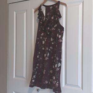 Purple Floral Print Dress